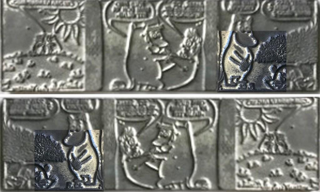 Tryckplåten med Mumintrollen, och inunder spegelvänd, med inklippt närbild på strippkoden. ©Bulls/Moomin Characters