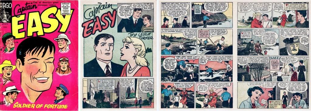 Omslag till Captain Easy #1 (1956) och inledande sidor till huvudserien. ©Argo