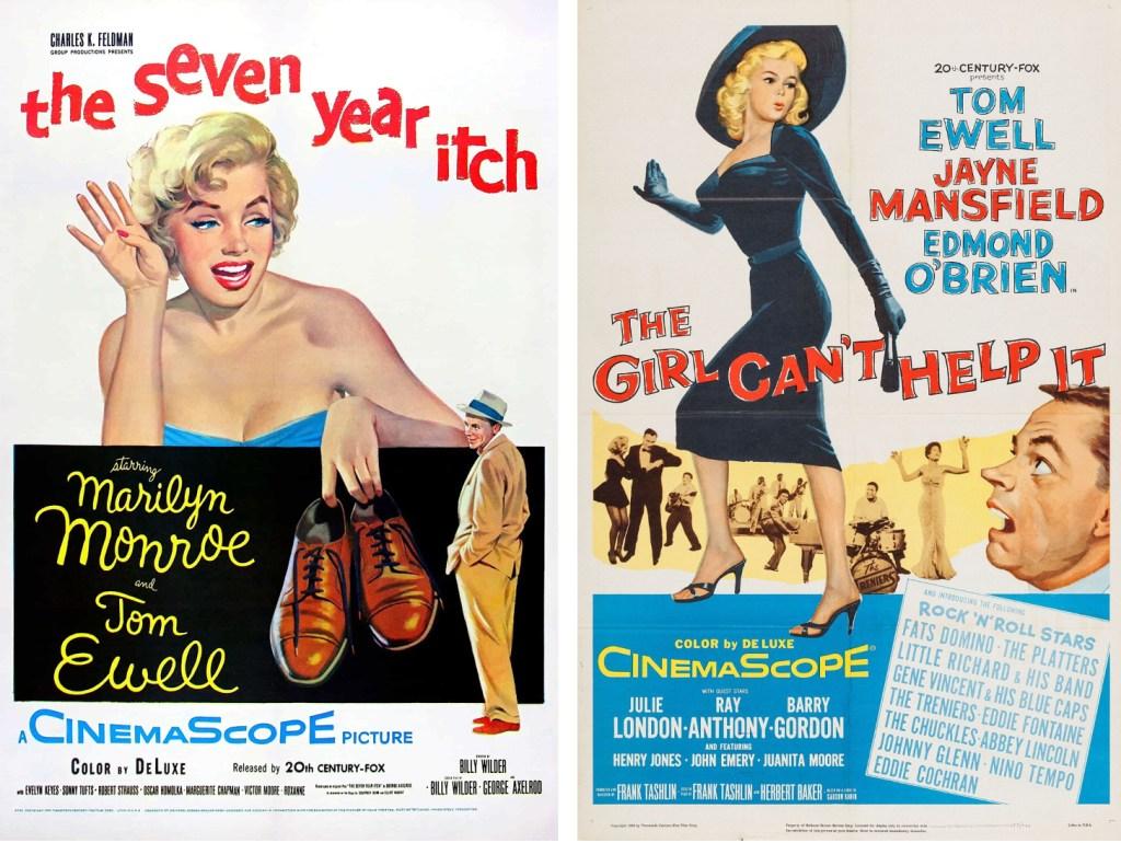Filmaffischer från The Seven Year Itch (1955) och The Girl Can't Help It (1956). ©20th Century Fox