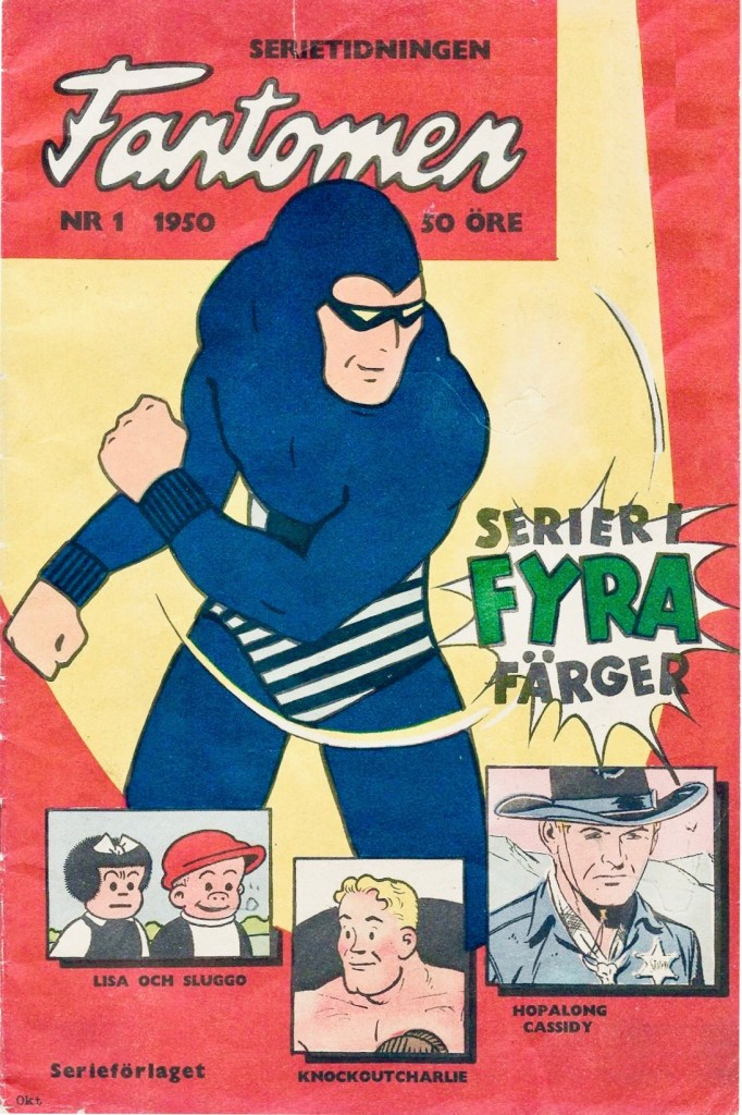 Första numret 1950 av serietidningen Fantomen. ©Serieförlaget