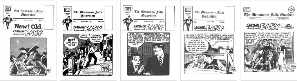 Captain Easy var representerad på omslaget till The Guardian #6, #20, #38, #54 och #72. ©Street Enterprises