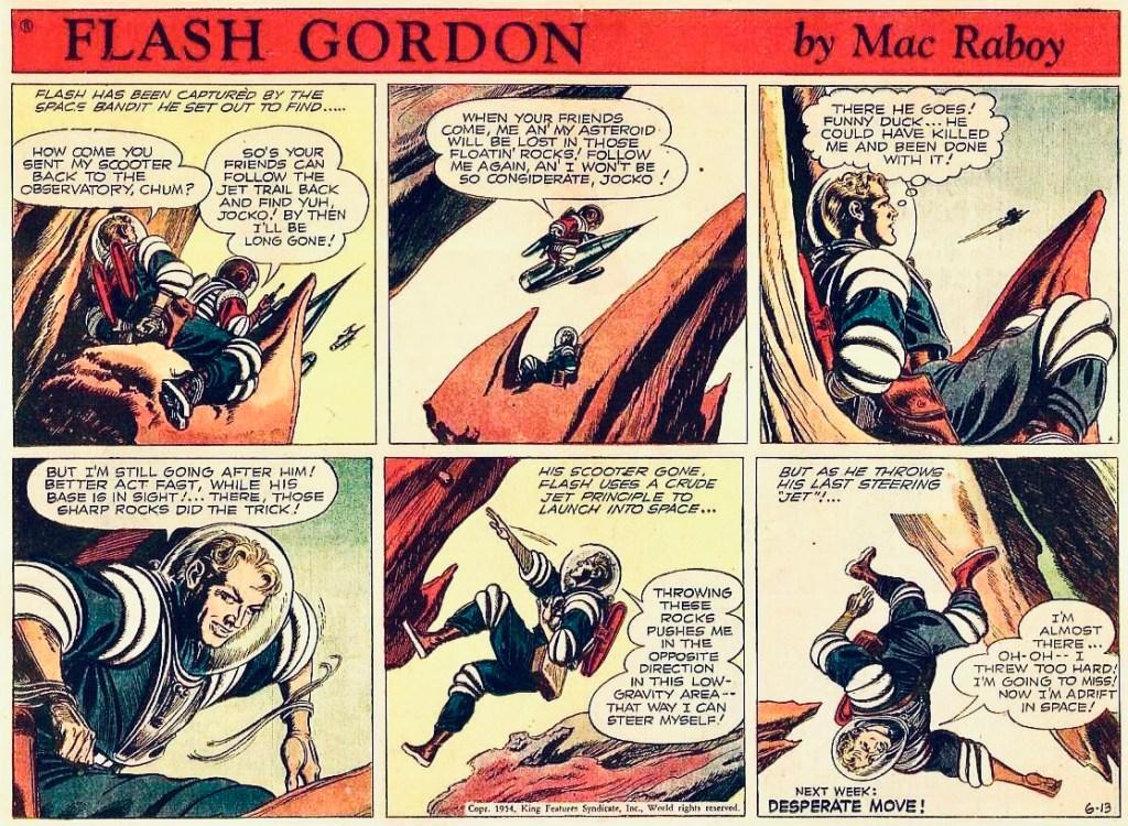 En Flash Gordon-söndagssida av Mac Raboy från 13 juni 1954. ©KFS