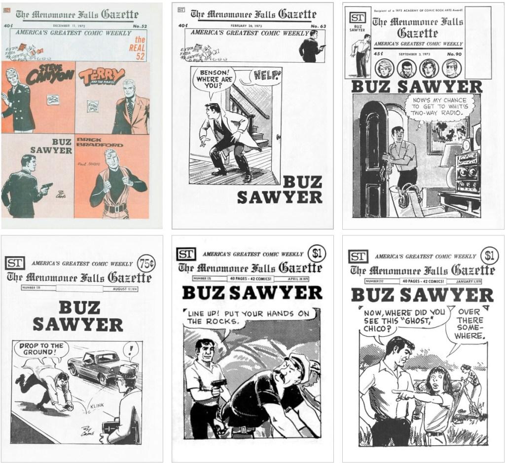 Buz Sawyer som var en del av innehållet i Menonomee Falls Gazette fanns också med på omslaget till #52, #63, #90, #139, #175 och #212. ©Street Enterprises