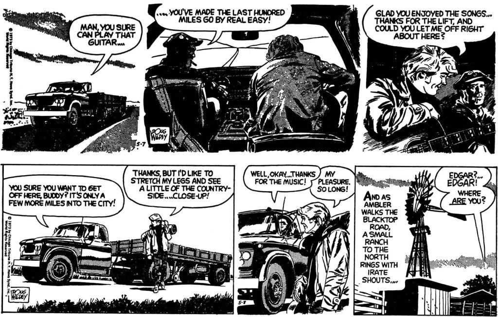 Ambler av Doug Wildey: Inledande två dagsstrippar ur episoden från 7-8 maj 1973. ©CTNYNS