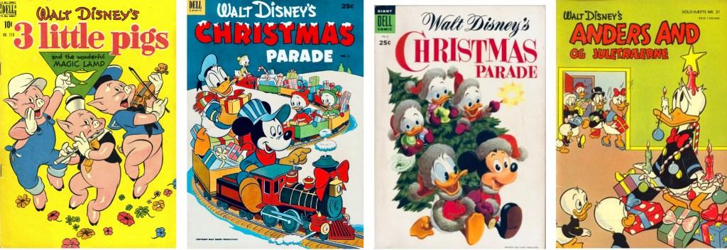 Omslag till Four Color Comic #218 (1949), Christmas Parade #4 (1952) och #6 (1954) och #6 (1954) och Solo-hæfte #31 (1955). ©Dell/Disney