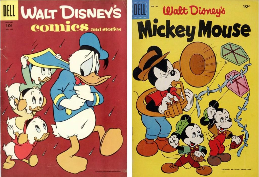 Omslag till Walt Disney's Comics and Stories #184 och Mickey Mouse #47 (båda 1956). ©Dell/Disney