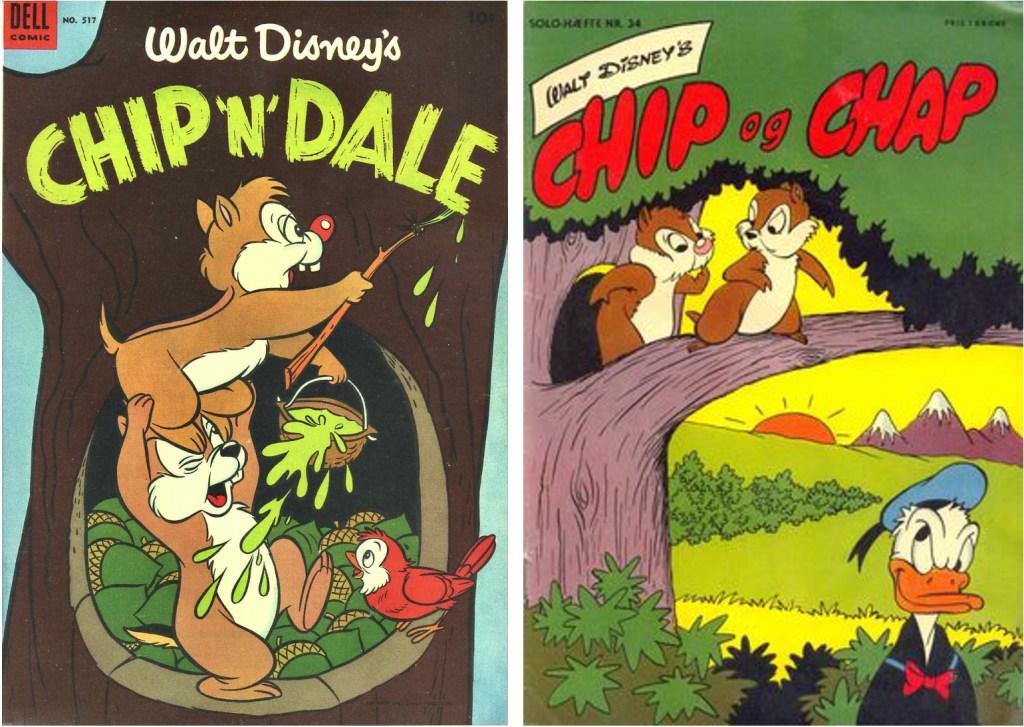 Omslag till Four Color Comic #517 (1953) och Solo-hæfte nr 34 (1955). ©Dell/Disney