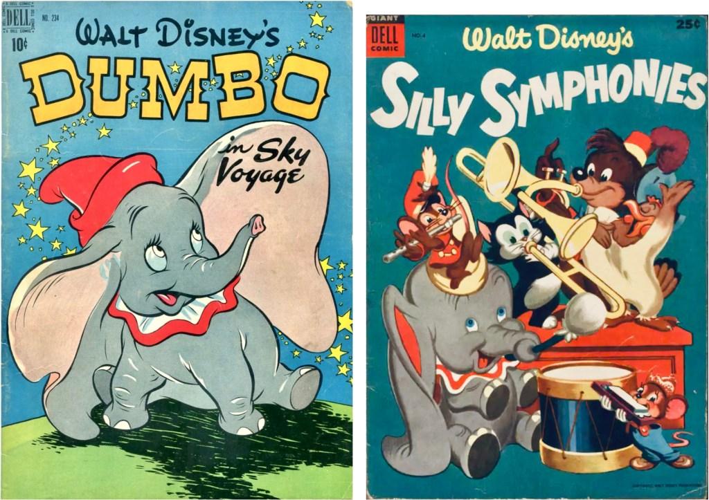 Omslag till Four Color Comic #234 (1949) och Walt Disney's Silly Symphonies #4 (1954). ©Dell/Disney