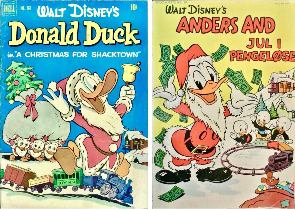 Omslag till Four Color Comic #367 (1951), och Solo-hæfte nr 19 (1954). ©Dell/Gutenberghus/Disney
