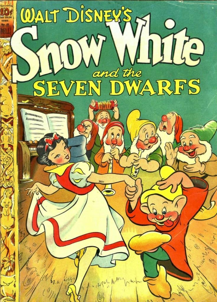 Omslag till Four Color Comic #49 (1944), Snow White and the Seven Dwarfs. ©Dell/Disney