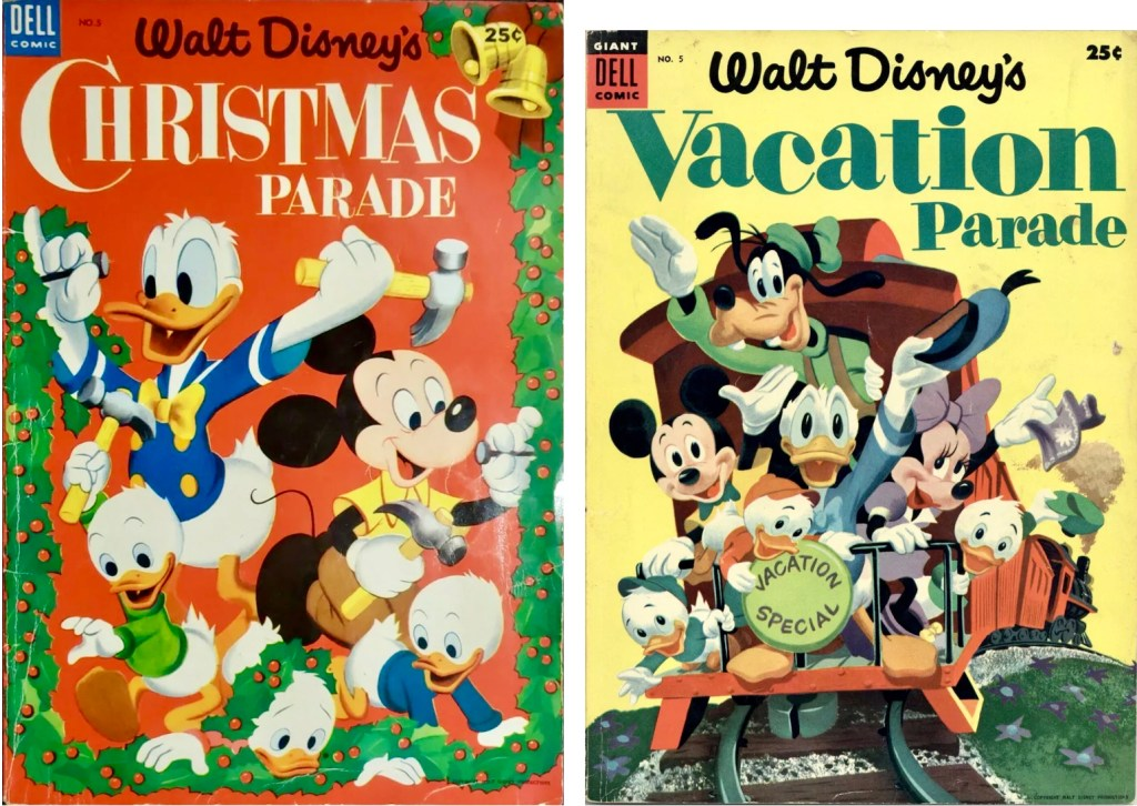Omslag till Christmas Parade #5 (1953) och Vacation Parade #5 (1954). ©Dell/Disney
