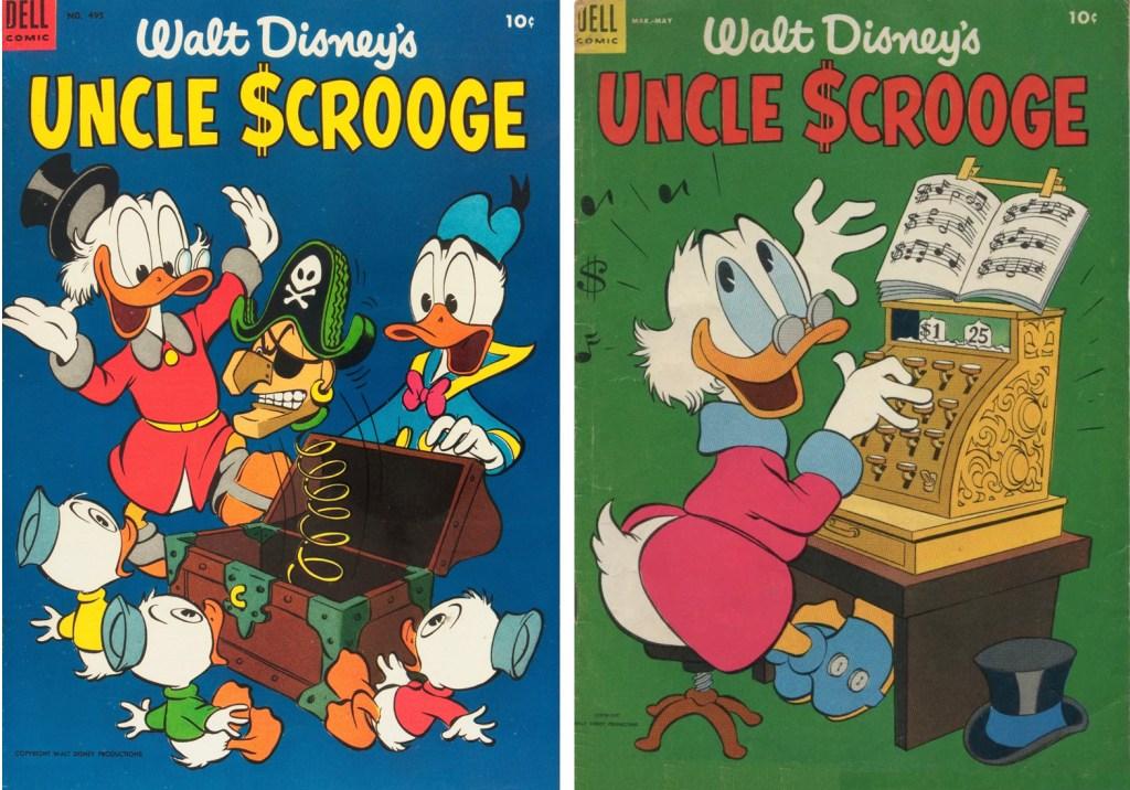 Omslag till Four Color Comic #495 (1953) och Uncle Scrooge #5 (1954). ©Dell/Disney