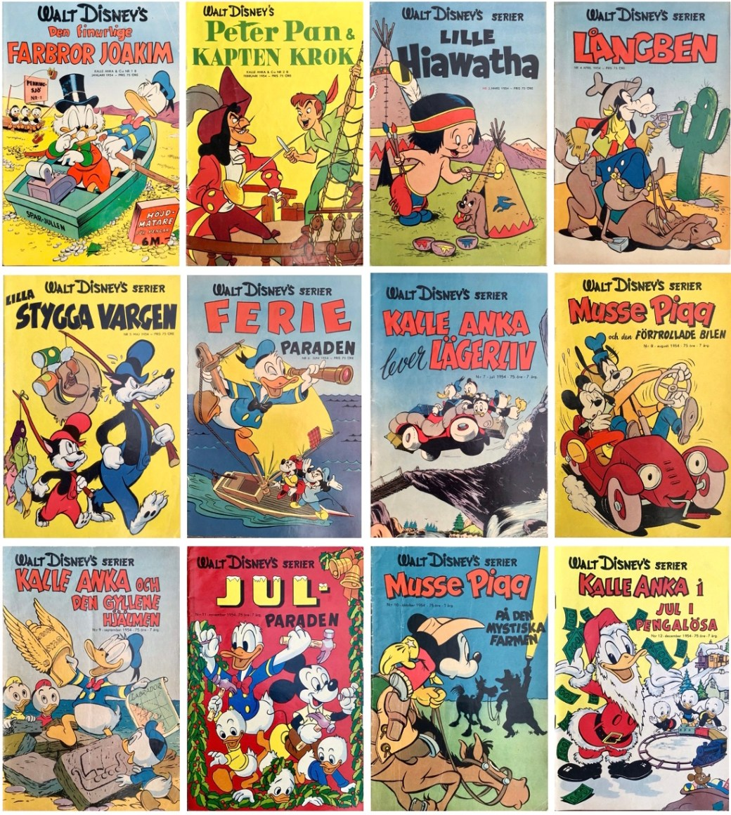Omslag till Walt Disney's serier 1954. ©Richters/Disney