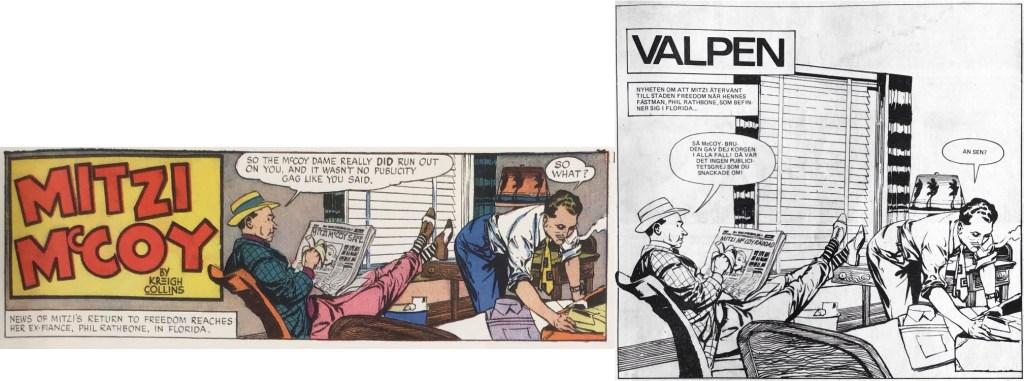 """Den inledande sidan i Mitzi McCoy från 30 januari 1949 har i Seriemagasinet blivit redigerad som """"splash page"""". ©NEA"""