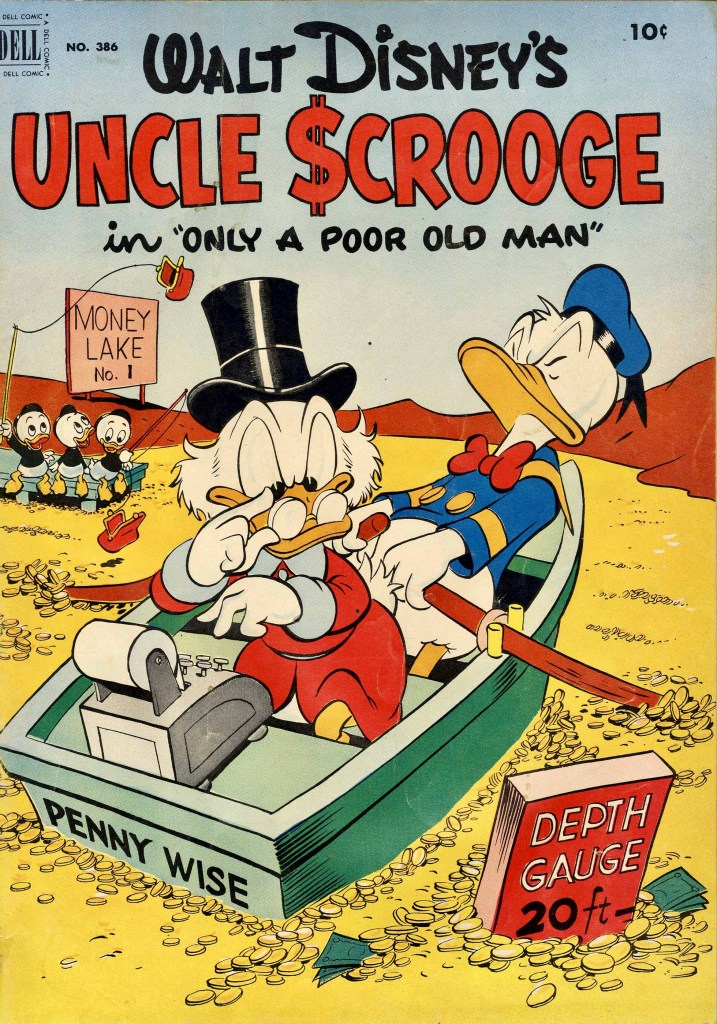 Omslag till Four Color Comic #386 (1952), Uncle Scrooge: Only a Poor Old Man. ©Dell/Disney