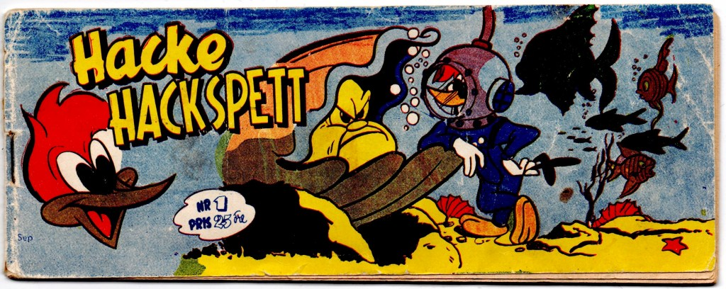Omslag till Hacke Hackspett nr 1, 1954. ©Centerförlaget