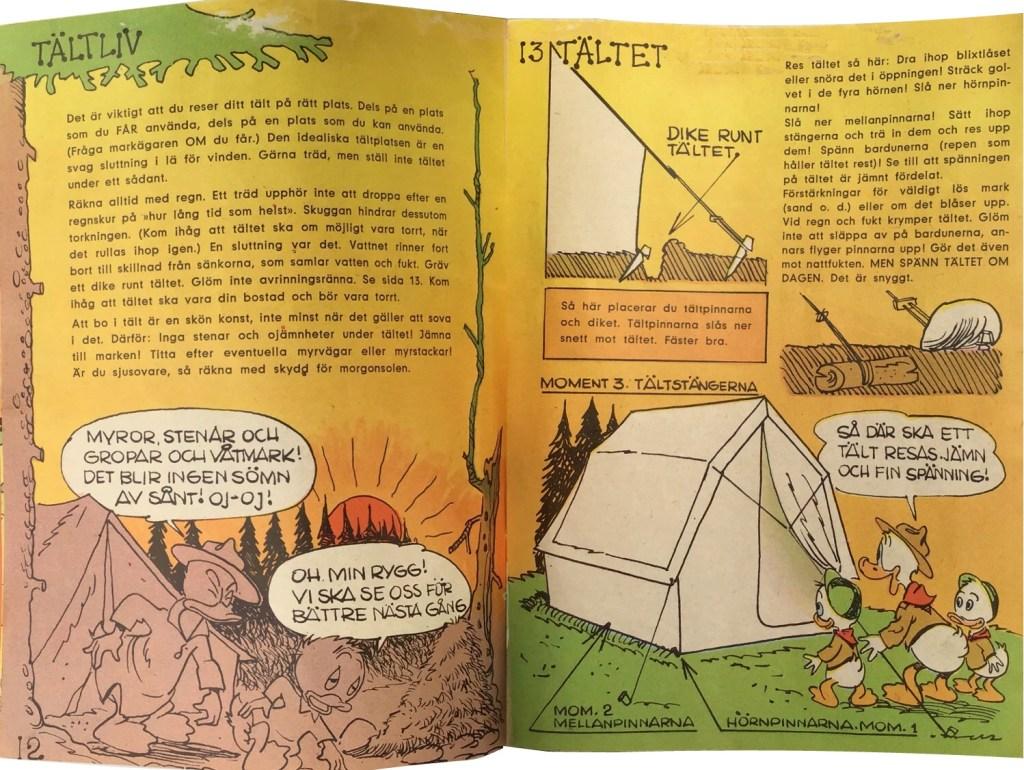 Sidan 12-13: Tältliv, Tältet. ©Hemmets Journal