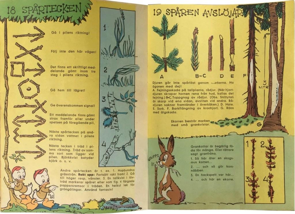 Gröngölingens handbok: Sidan 18-19: Spårtecken, Spåren avslöjar. ©Hemmets Journal