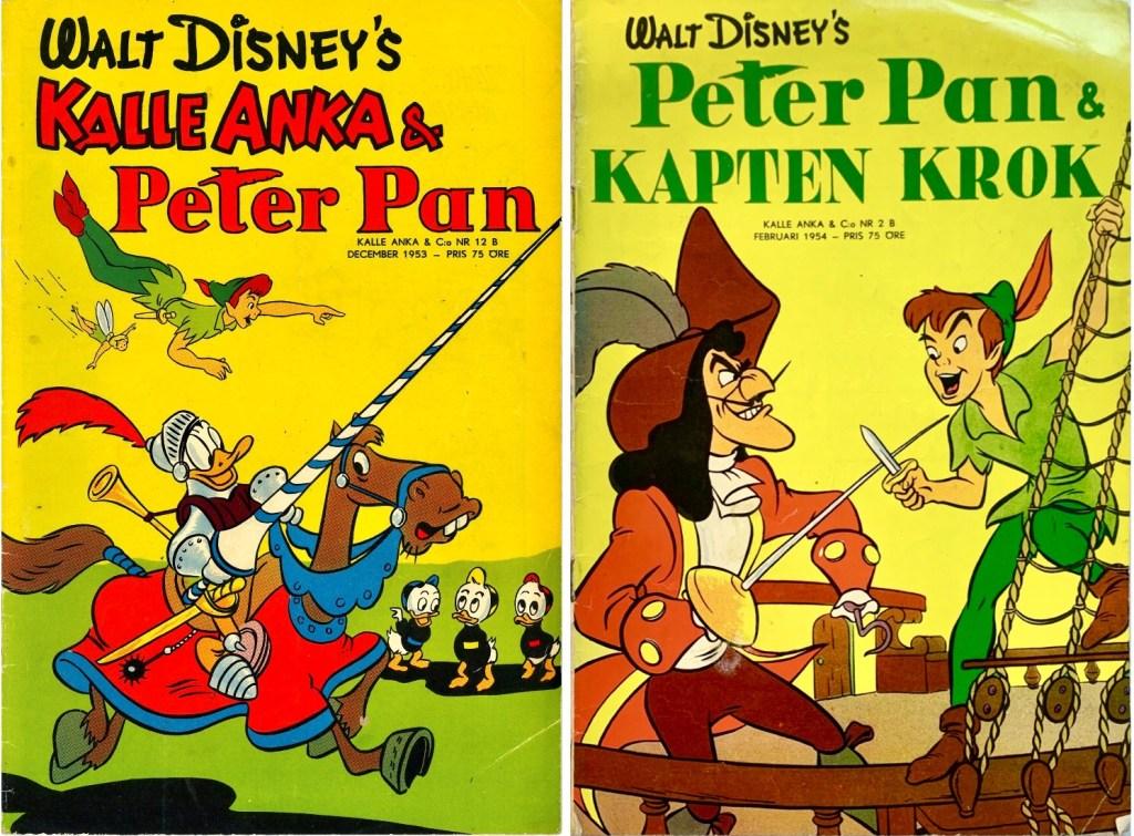 Omslag till Kalle Anka & C:o nr 12B, 1953, Kalle Anka och Peter Pan, och Kalle Anka & C:o nr 2B, 1954, Peter Pan och Kapten Krok. ©Richters