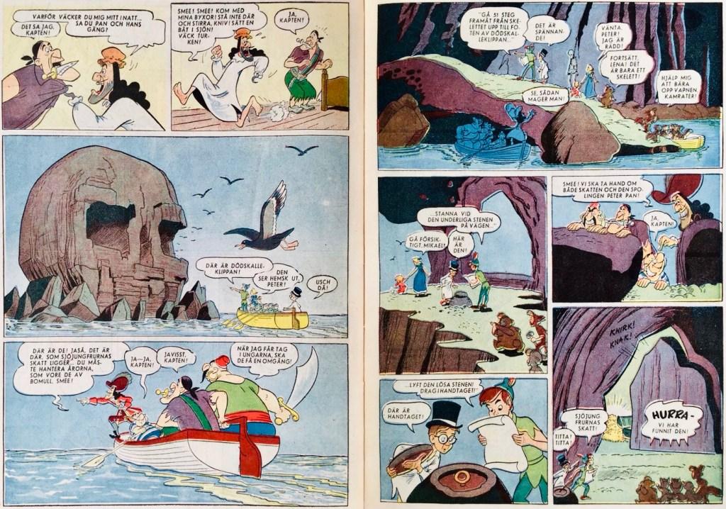 Ett uppslag ur Peter Pan och Kapten Krok. ©Disney