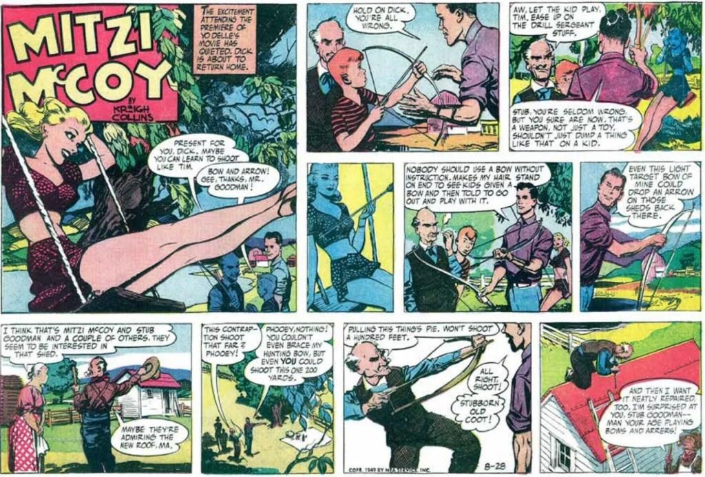 Söndagsserie med Mitzi McCoy från 28 augusti 1949. ©NEA