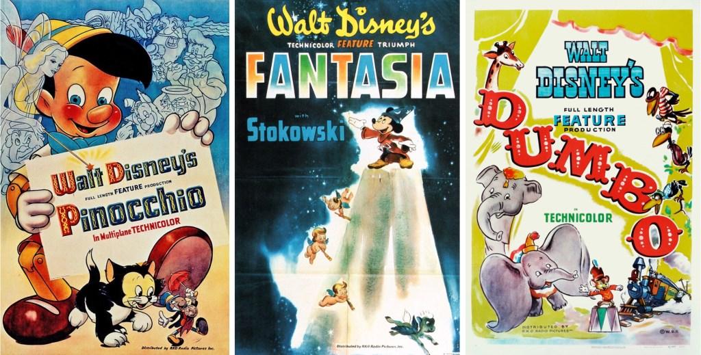 Filmaffischer från Pinocchio (1940), Fantasia (1940) och Dumbo (1941). ©RKO/Disney