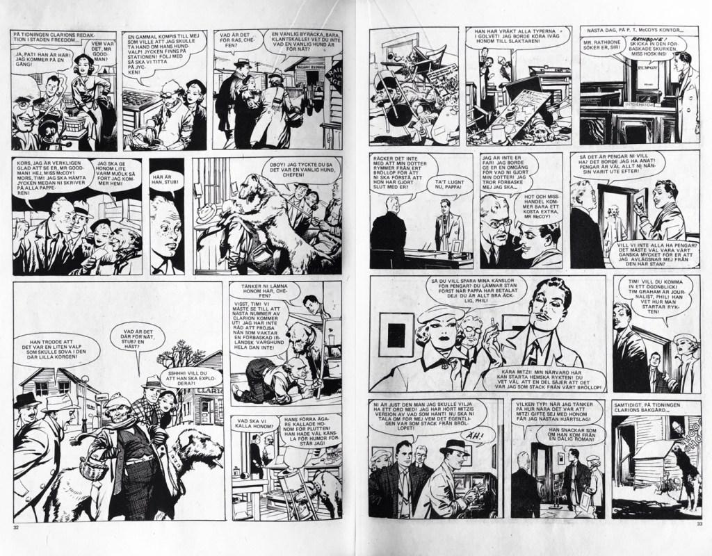 Ett uppslag med Mitzi McCoy i Seriemagasinet nr 13, 1977. ©NEA