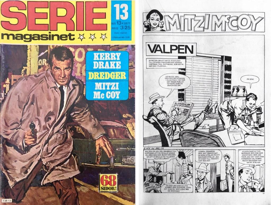 Omslag till Seriemagasinet nr 13, 1977, och inledande sida till Mitzi McCoy. ©NEA