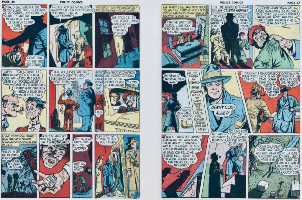 Ett till uppslag med Spirit ur Police Comics #11 (1942). ©Eisner