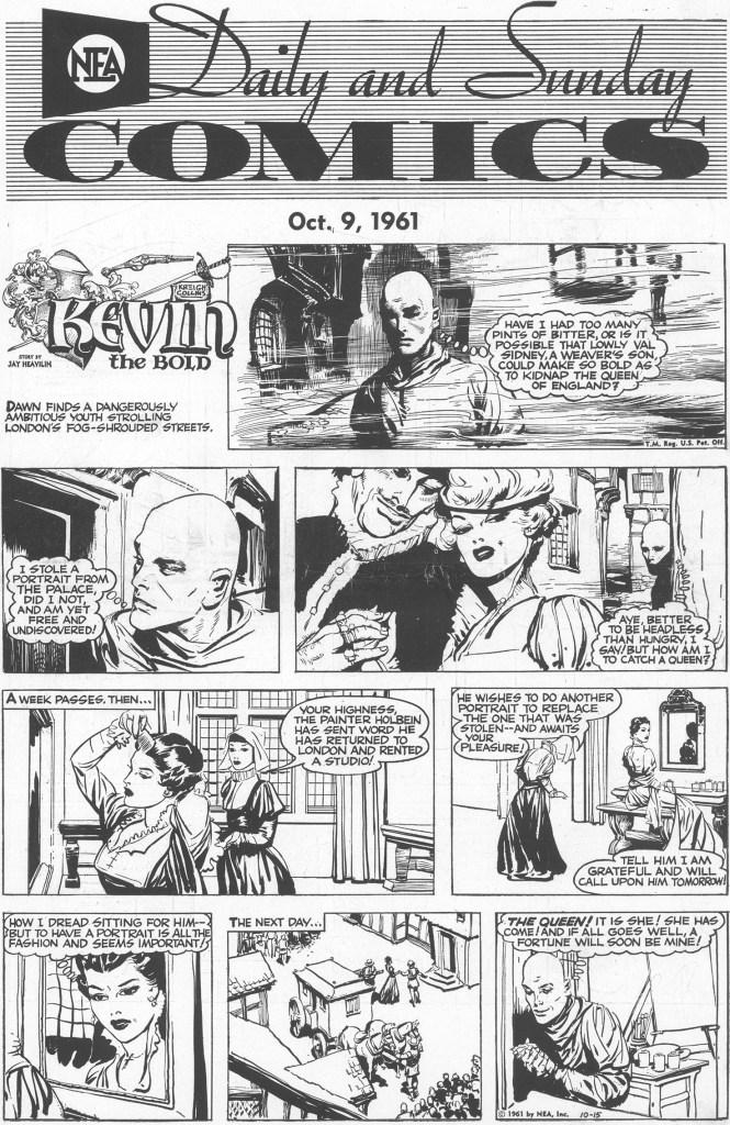 Motsvarande söndagssida (helsida) med Kevin the Bold, från 15 oktober 1961. ©NEA