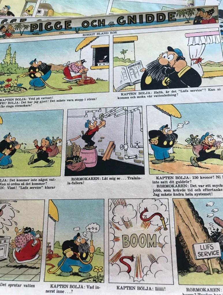 Pigge och Gnidde gick på svenska i Hemmets Veckotidning.