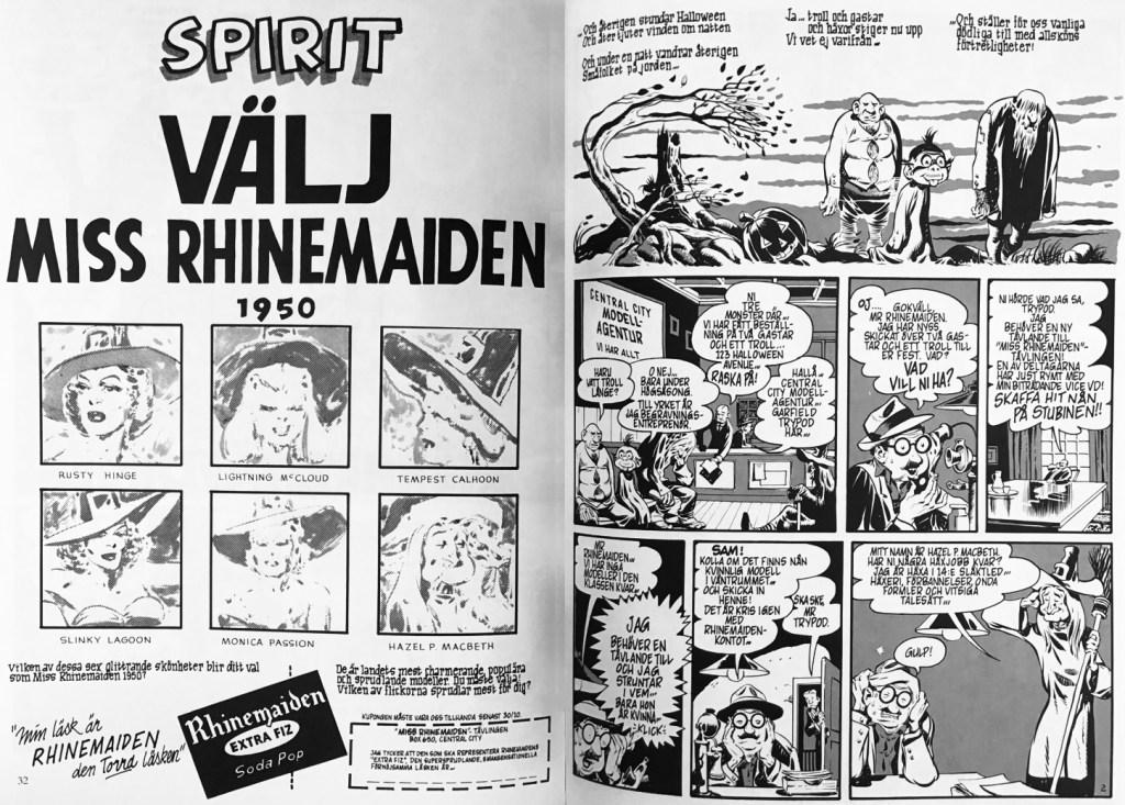 Inledande uppslag ur episoden Välj miss Rhinemaiden 1950 i Spirit 9. ©Eisner
