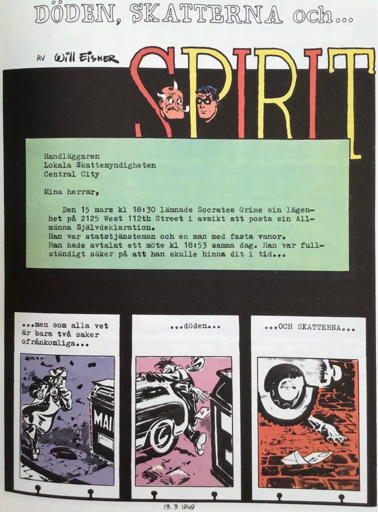 Inledande sida ur episoden Döden, skatterna och Spirit i Spirit 5. ©Eisner