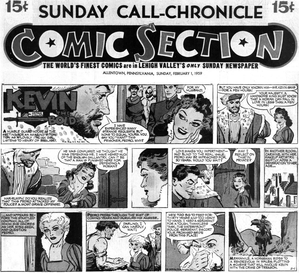 Motsvarande söndagssida (halvsida) med Kevin the Bold, från 1 februari 1959. ©NEA