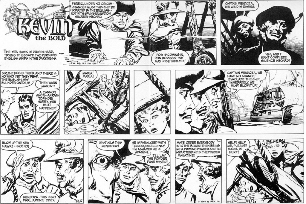 Motsvarande söndagssida (halvsida) med Kevin the Bold, från 22 november 1964. ©NEA