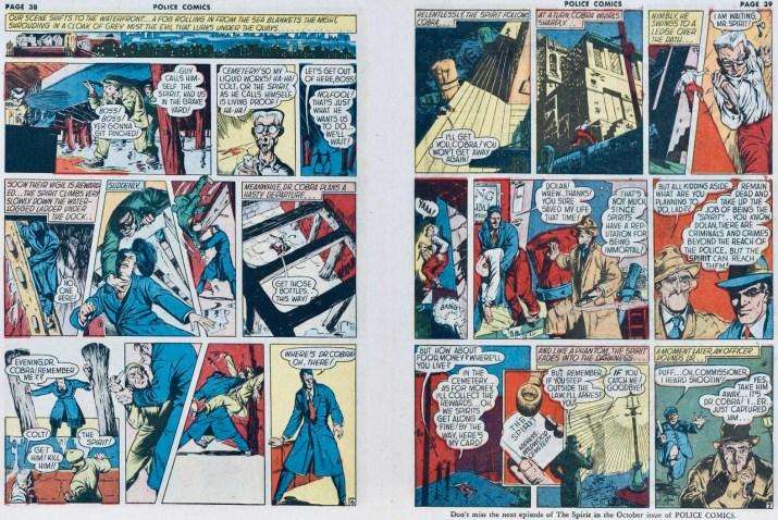 Ett avslutande uppslag med Spirit ur Police Comics #11 (1942). ©Eisner
