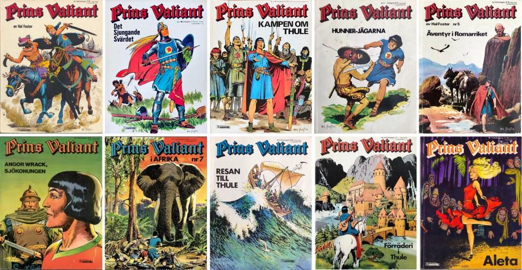 Prince Valiant-index: Prins Valiant seriealbum nr 1-10. ©Semic
