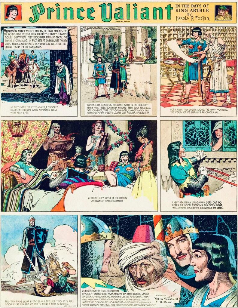 På sida #183 från 11 augusti 1940 omnämns romarrikets fall. År 476 abdikerade den unge romerske kejsaren Romulus Augustulus sedan germanska stammar under ledning av general Odovakar intagit den västromerska huvudstaden Ravenna.