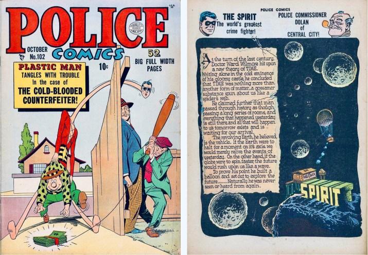 Omslag till Police Comics #102 (1950) och inledande sida ur Spirit. ©Quality/Comic Magazines/Eisner