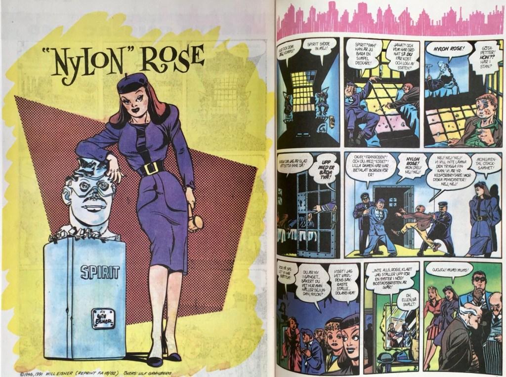 """Inledande uppslag till """"Nylon"""" Rose ur Fantomen nr 15, 1991. ©Eisner"""
