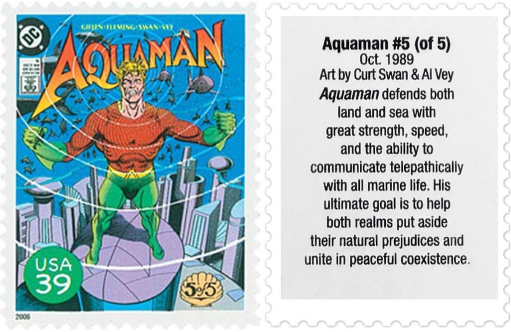 Frimärket med omslaget till Aquaman #5 (1989). ©USPS/DC