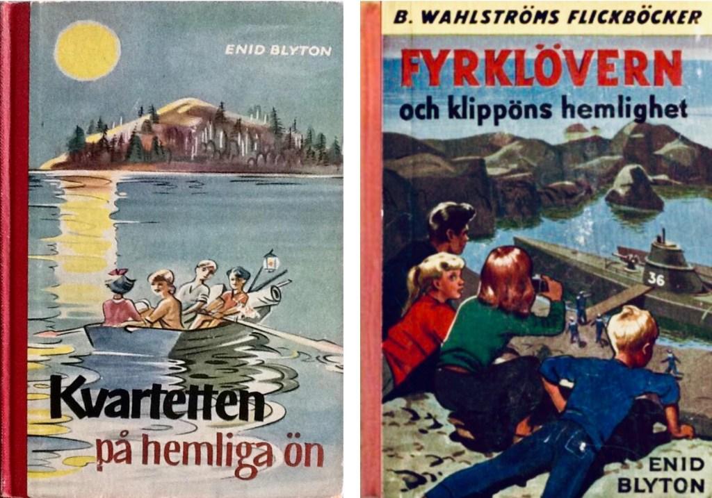 En av Kvartetten-böckerna (The Secret Series), och en av Fyrklövern (The Adventurous Four). ©Wahlströms