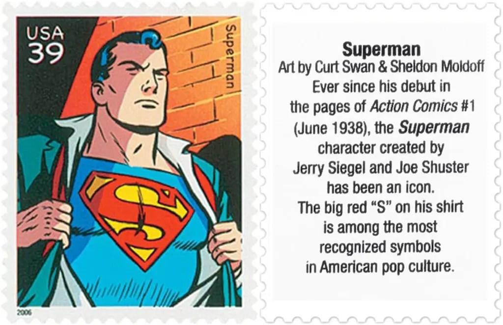 Frimärket med Superman (2006). ©USPS/DC