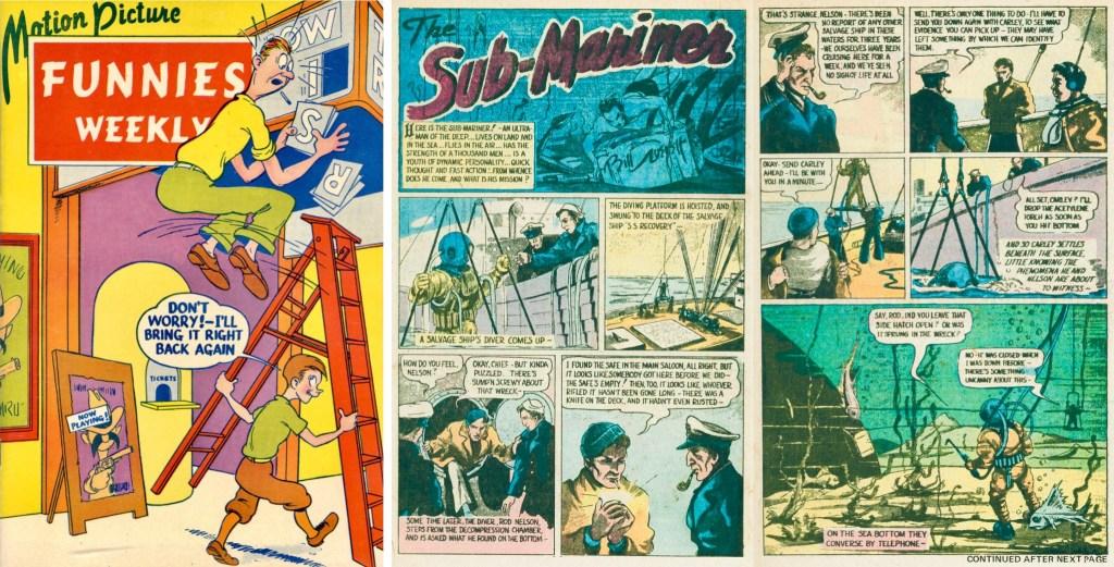 Omslag till Motion Picture Funnies Weekly #1 (1939) och första uppslag med Sub-Mariner av Bill Everett. ©First Funnies