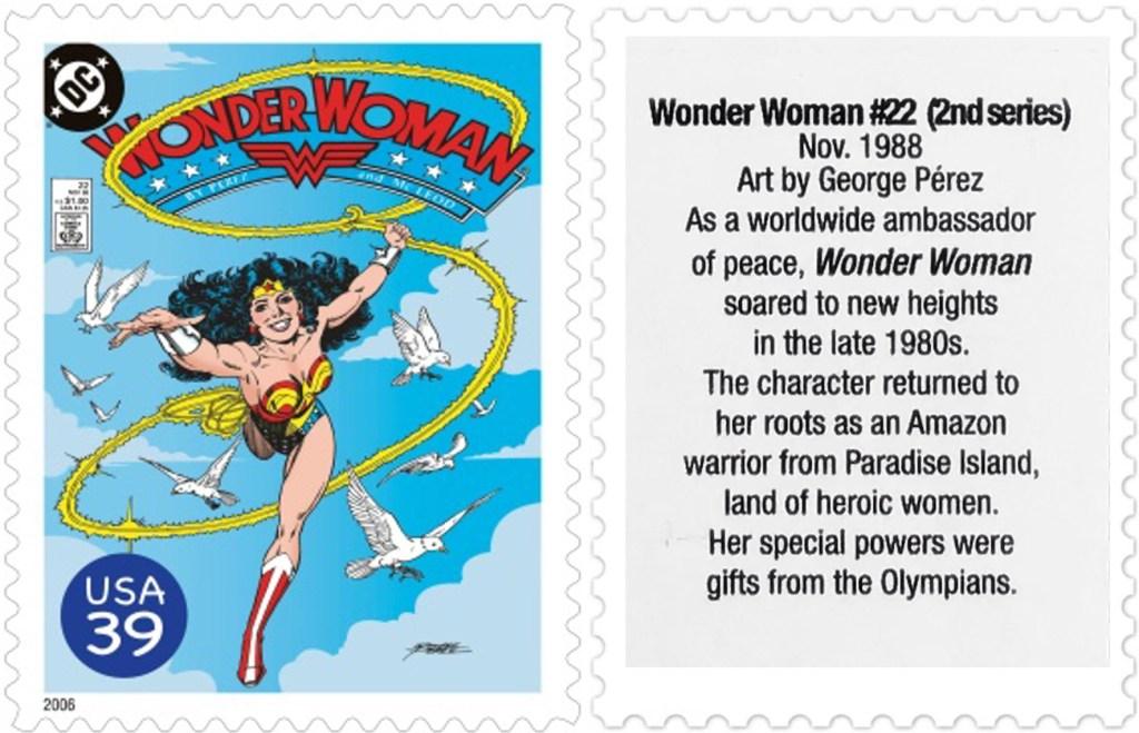 Frimärket med omslaget till Wonder Woman #22 (1988). ©USPS/DC