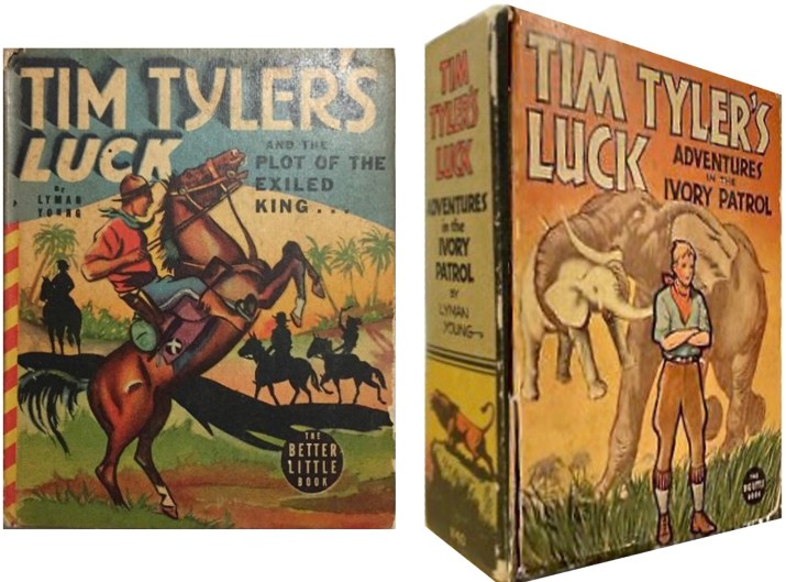 Omslag till Tim Tyler's Luck and the Plot of the Exiled King (1939) och Tim Tyler's Luck, Advetures of the Ivory Patrol (1937). ©Whitman