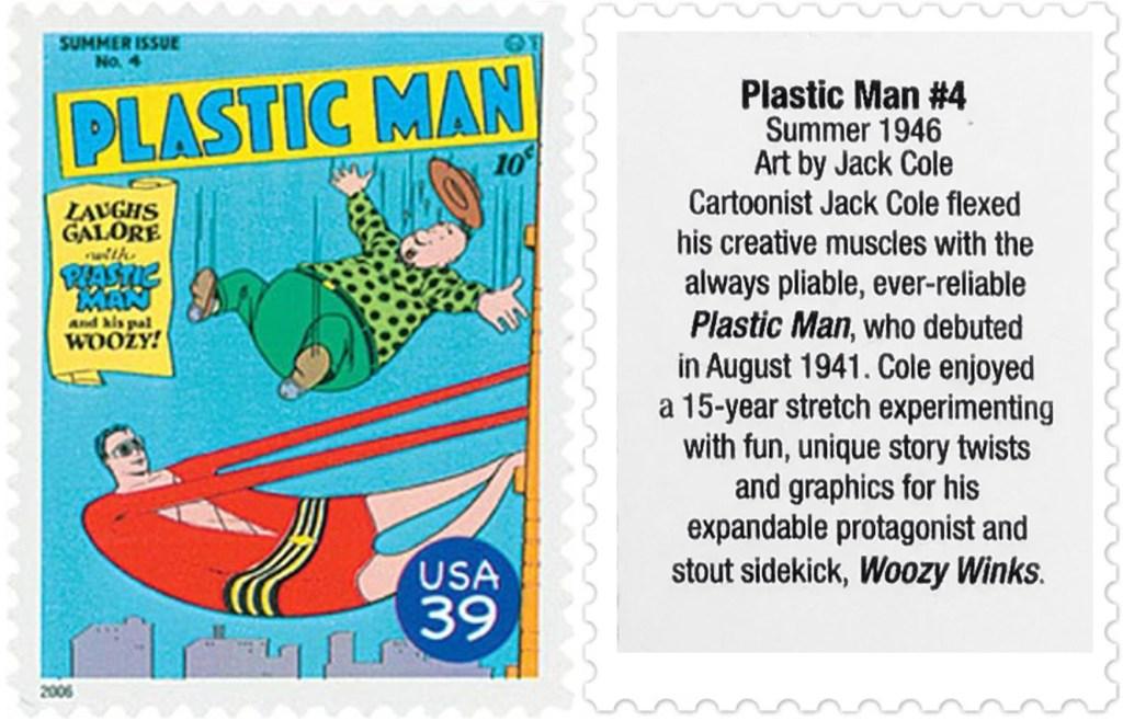 Frimärket med omslaget till Plastic Man #4 (1946). ©USPS/DC