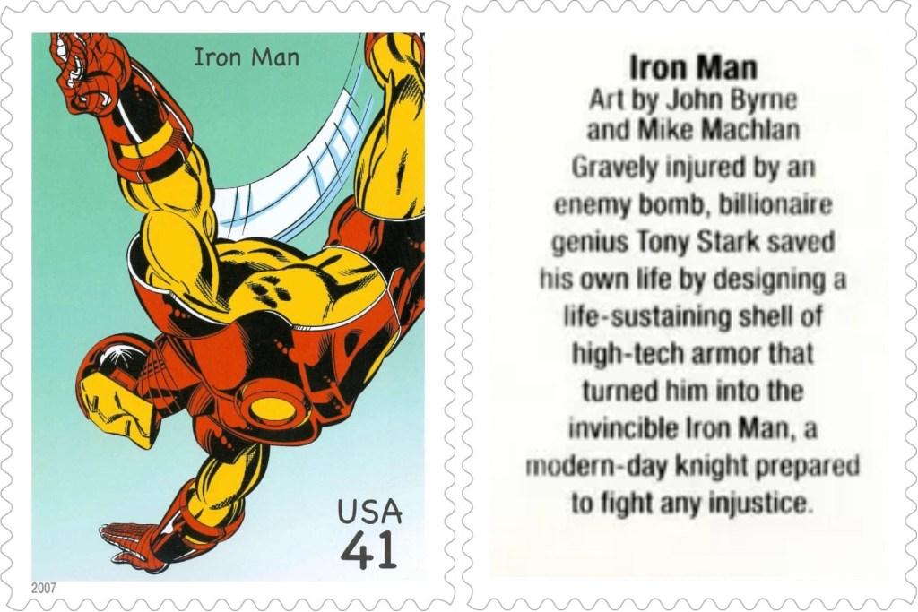 Frimärket med Iron Man (2007). ©USPS/Marvel