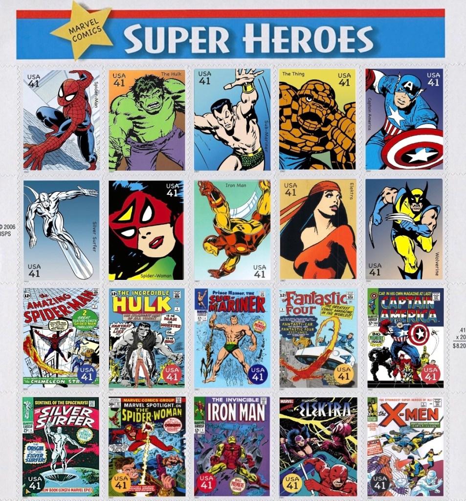 Det amerikanska postverket gav ut tjugo olika frimärken under den gemensamma titeln Marvel Super Heroes (2007). ©USPS/Marvel