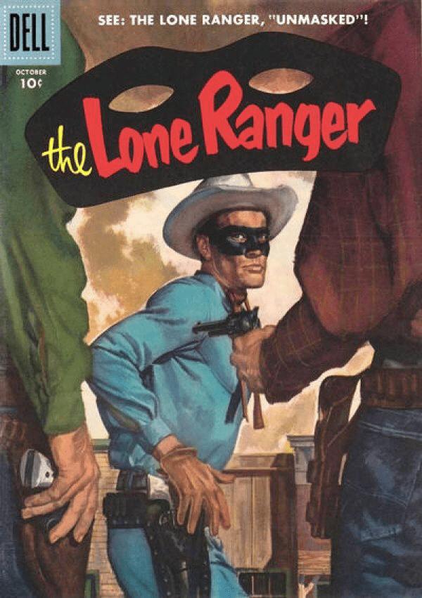 Ensamma Vargen förekom som tecknad serie bland annat i flera amerikanska serietidningar. Omslag till Lone Ranger #100 (1956). ©Dell